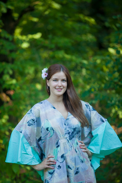 """Ballerina"" kaftan in Flamingo Watercolor pattern"