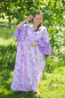 """Ballerina"" kaftan in Ombre Fading Leaves pattern"