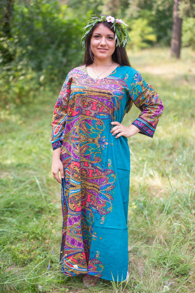 """The Unwind"" kaftan in Cheerful Paisleys pattern"