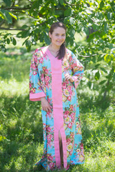 """The Glow Within"" kaftan in Rosy Red Posy pattern"
