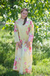 """Charming Collars"" kaftan in Cabbage Roses pattern"