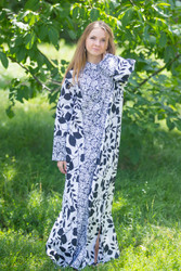 """Charming Collars"" kaftan in Classic White Black pattern"