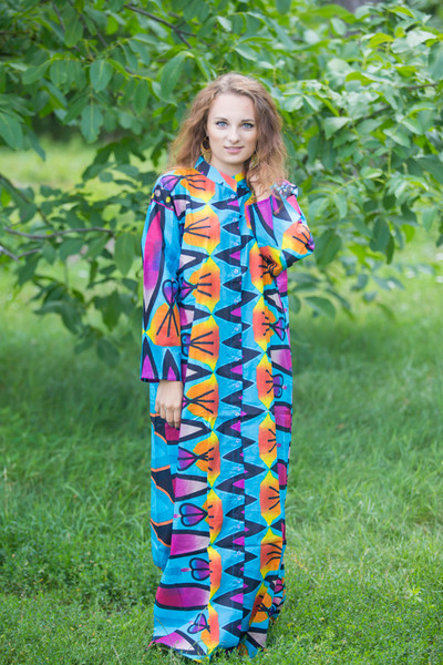 """Charming Collars"" kaftan in Glowing Flame pattern"
