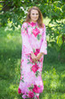 """Charming Collars"" kaftan in Large Fuchsia Floral Blossom pattern"