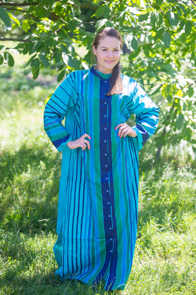 """Charming Collars"" kaftan in Multicolored Stripes pattern"