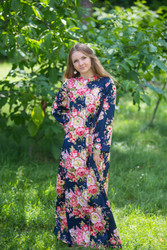 """Charming Collars"" kaftan in Rosy Red Posy pattern"