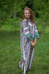 """Mandarin On My Mind"" kaftan in Aztec Geometric pattern"
