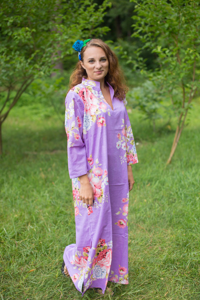 """Mandarin On My Mind"" kaftan in Cabbage Roses pattern"