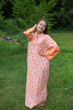 """Mandarin On My Mind"" kaftan in Chevron Dots pattern"