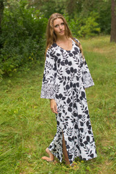 """The Unwind"" kaftan in Classic White Black pattern"