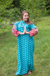 """Mandarin On My Mind"" kaftan in Floral Bordered pattern"
