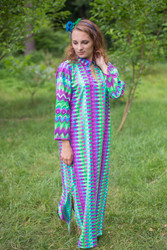 """Mandarin On My Mind"" kaftan in Geometrica pattern"