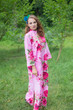 """Mandarin On My Mind"" kaftan in Large Fuchsia Floral Blossom pattern"