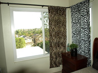 Giraffe Print Curtain Panel (left), Zebra Print Curtain Panel (right)