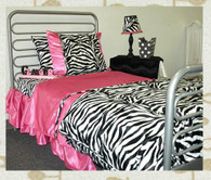 Animal print sheet set : zebra (faux fur) with hot pink satin