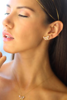 Mother of pearl and diamond stud earrings
