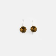 Smokey Topaz Floral Drop Earrings (E3188)