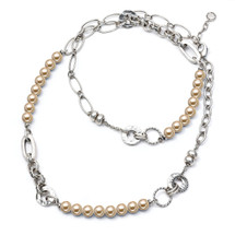 Champagne Pearl Burnished Silver Necklace (N1266)