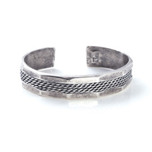 Geometric Burnished Silver Cuff (B1140)