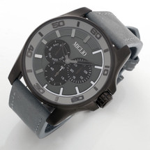 Grey Leather Strap Watch (W51)