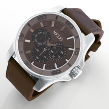 Brown Leather Strap Watch (W50)