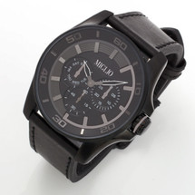 Black Leather Strap Watch (W49)
