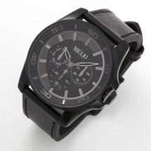 Black Leather Strap Watch (W49)