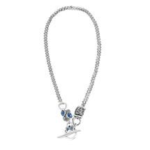 Denim Lily Rose Floral Necklace (N1506)