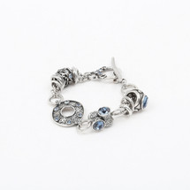 Denim Lily Rose Floral Bracelet (B1219)