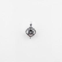 Square filigree pendant with a black diamond Swarovski® Crystal centre.