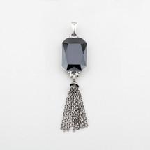 Geometric tassel pendant encrusted with an emerald-cut jet hematite Swarovski® Crystal