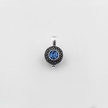 Burnished silver beaded pendant with light sapphire Swarovski crystal centre