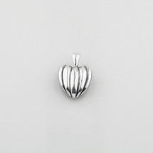 Grooved heart pendant in burnished silver