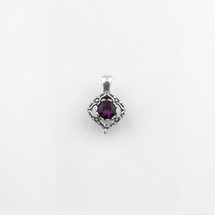 Square filigree pendant with a amethyst Swarovski® Crystal centre