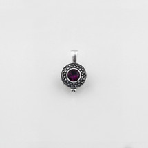 Burnished silver beaded pendant with amethyst Swarovski® Crystal centre