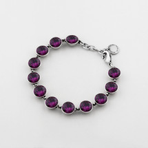 Large amethyst Swarovski® Crystal tennis bracelet - 19 cm plus extender