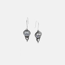 Grey Blue Shell Pearl Spear French Wire Earrings (E2662)