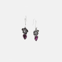 Full-blown rose and amethyst Swarovski® Crystal teardrop french wire earrings