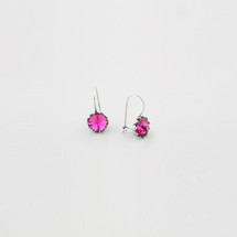 Flower drop earrings encrusted with fuchsia Swarovski crystals