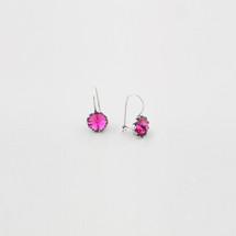 Flower drop earrings encrusted with fuchsia Swarovski® Crystals