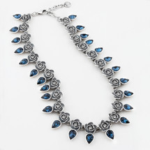 Full-blown rose and montana Swarovski crystal teardrop necklace