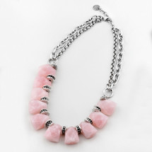 Rose quartz and burnished silver plated bib necklace with detailed beading - 46 cm plus extender