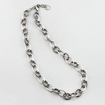 Nautical burnished silver necklace
