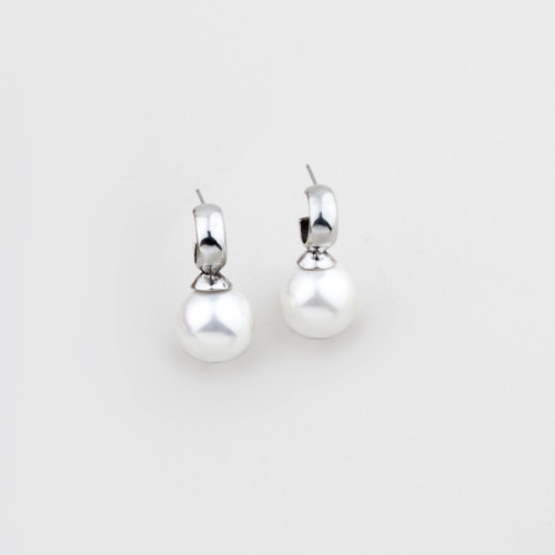 Lustrous white shell pearl drop earrings with burnished silver plated caps