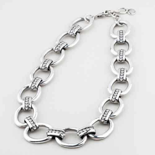 Bold chain and link necklace embellished with Swarovski® Crystals - 40 cm plus extender/ 47 cm plus extender