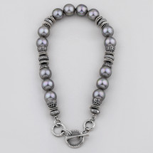 Sultry grey-blue shell pearl necklace with textured burnished silver plated rings - 46 cm