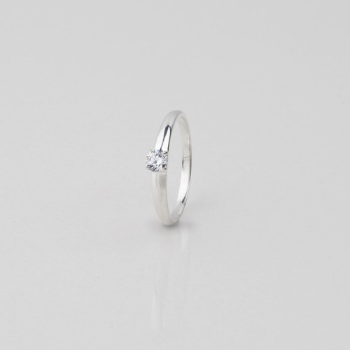 Solitaire ring in Sterling Silver with a Cubic Zirconia