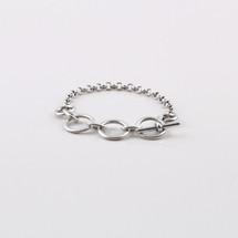 Burnished silver plated link extender and bracelet.