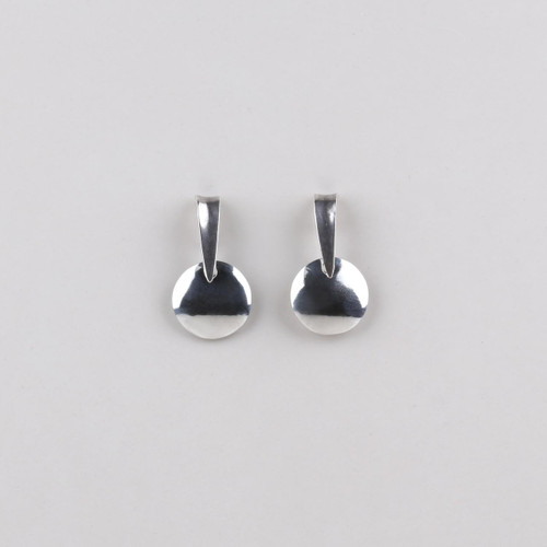 Modern burnished silver plated drop earrings.