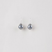 Petite burnished silver plated drop earrings adorned with blue shell pearls.